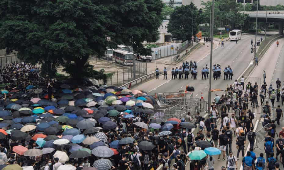 Protesters occupy major roads near Hong Kong's legislative council building