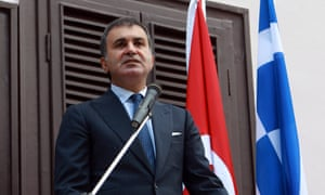 Ömer Çelik speaking in Greece as Turkish foreign minister in 2013
