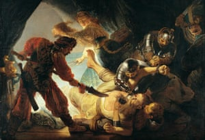 Swords and sandals … Rembrandt's The Blinding of Samson (1636).