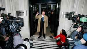 Terry Wogan leaving BBC Radio studios on his final day presenting his Radio 2 Show on 18 December 2009