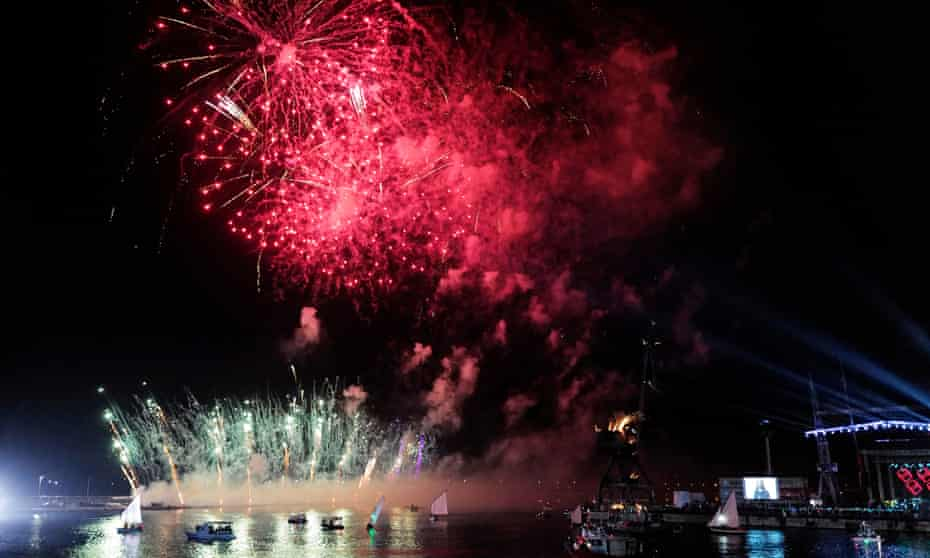Fireworks during the opening ceremony of Rijeka as the European Capital of Culture 2020.
