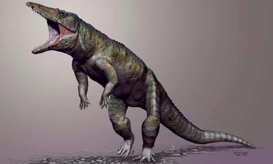 A computer generated reconstruction of the crocodile ancestor Carnufex carolinensis which lived on land and walked on two legs and may have been a top predator before dinosaurs took over the world, scientists believe.