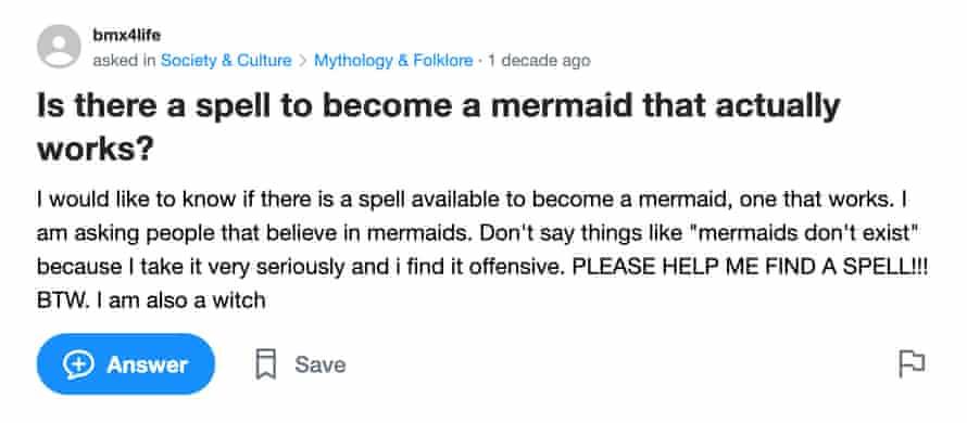 یک اسکرینگراب از یاهو!  صفحه سersالات پاسخ ها: آیا طلسمی برای پری دریایی شدن وجود دارد که در واقع کارساز باشد؟