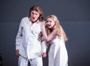 Irish soprano Jennifer Davis and Klaus Florian Vogt in Lohengrin at the Royal Opera House, London.