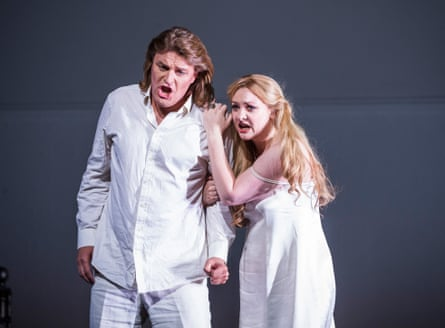 Irish soprano Jennifer Davis and Klaus Florian Vogt in Lohengrin at the Royal Opera House, London.