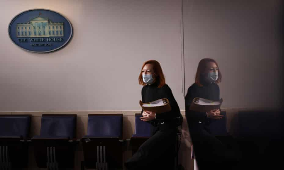 Jen Psaki walks into a news conference in the Brady Press Briefing Room at the White House on 3 February.