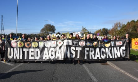 An anti-fracking protest in Blackpool, October 2018