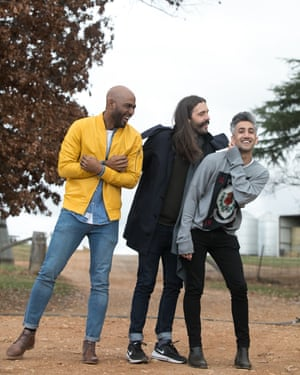 Karamo Brown, Jonathan Van Ness and Tan France in Yass, New South Wales
