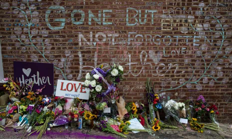 A memorial for Heather Heyer. The deadly neo-Nazi rally was originally organized on Facebook as a Facebook event.