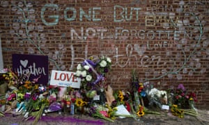 The memorial for Heather Heyer on the street where she was struck and killed last year, in downtown Charlottesville, Virginia.