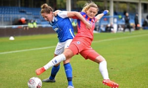 Rebecca Holloway, left, and Erin Cuthbert battle for possesison during Birmingham's encounter with Chelsea at Damson Park on Sunday