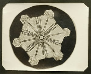 One of Bentley's original negatives he made of a snowflake, seen at the Snowflake Bentley exhibit at the Old Red Mill