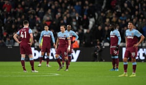 West Ham players perfecting their looks of dejection, earlier.