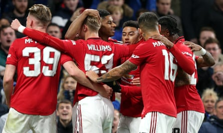 Manchester United celebrate Marcus Rashford's goal in their Carabao Cup win at Stamford Bridge earlier in the season.