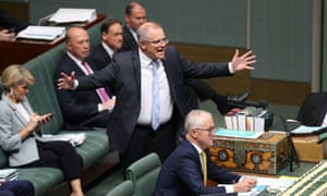 The treasurer Scott Morrison (centre) has refused to commit to taking the company tax cuts policy to the next election.