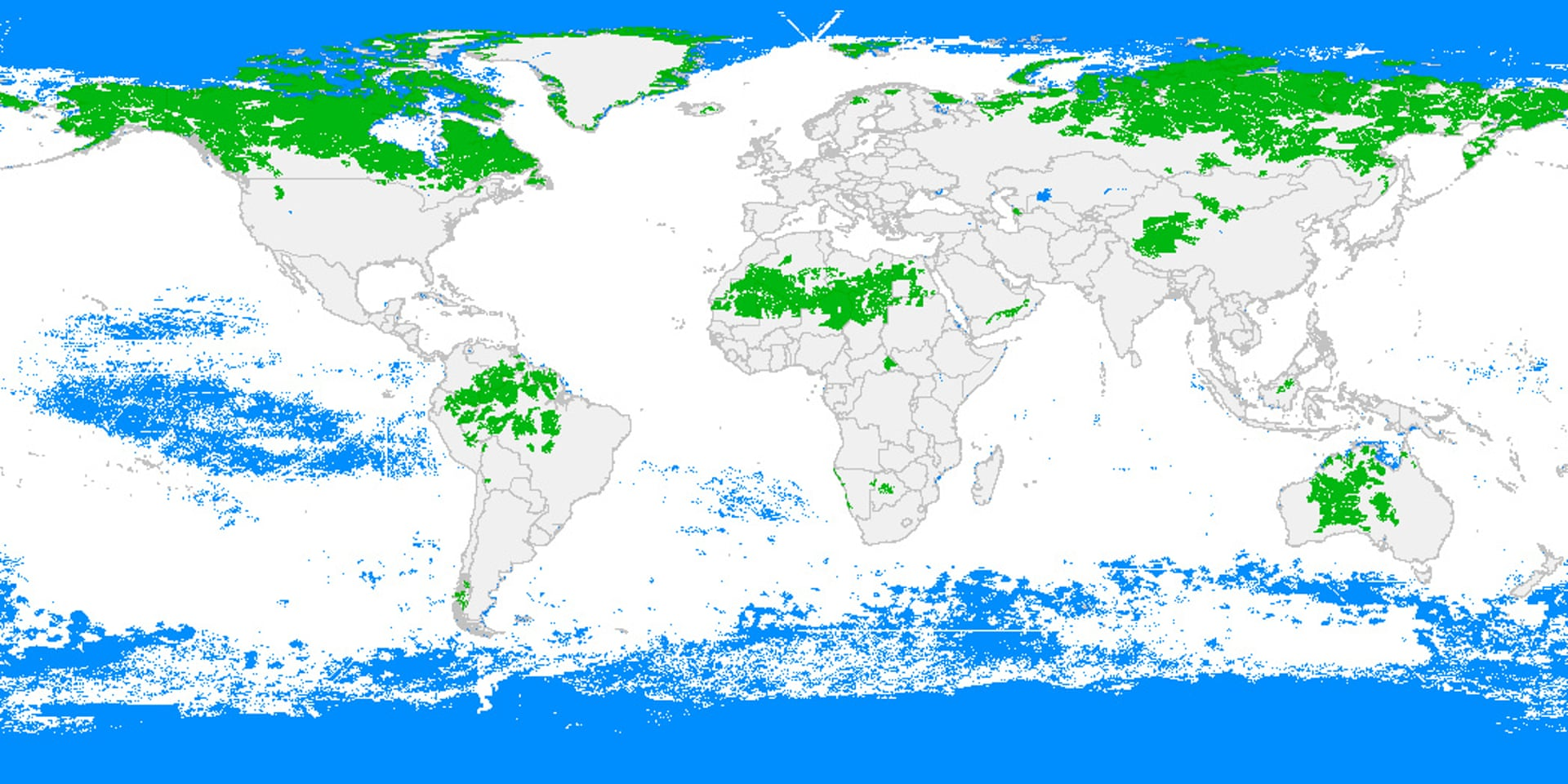 Map of the world's remaining wilderness. Green represents land wilderness, while blue represents ocean wilderness