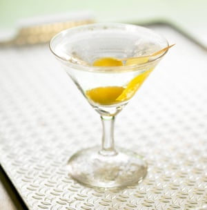 Dry martini with lemon and olive.