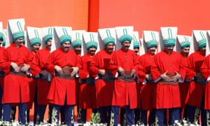 Marching band wearing traditional Ottoman dress at Istanbul rally