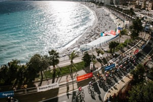 Riders traverse Promenade des Anglais in Nice during the second stage of the race.
