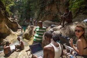 Impromptu office at Bassin Bleu, a sacred Vodou waterfall where we accidentally crashed a drone.