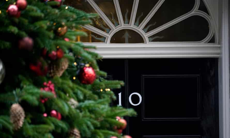 A view of 10 Downing Street's door.