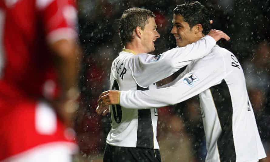 Ole Gunnar Solskjær, the Manchester United manager, with Cristiano Ronaldo in 2006