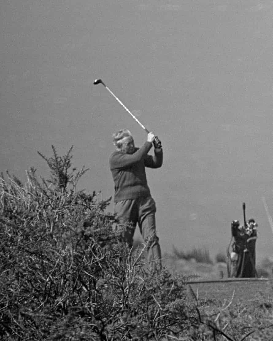Harold Wilson playing golf on the Isles of Scilly on 5 April 1969.