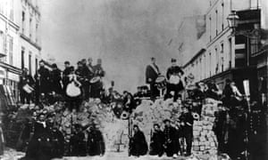 The Paris Commune - barricade in the rue de Charonne, 1871.