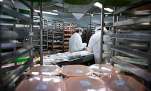 Caterers preparing hospital meals.