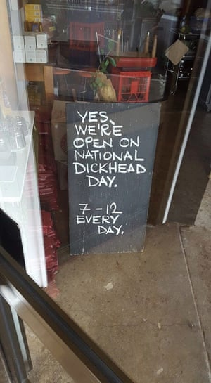 The sign outside Mister Jones cafe in Bermagui, NSW, on 25 January.