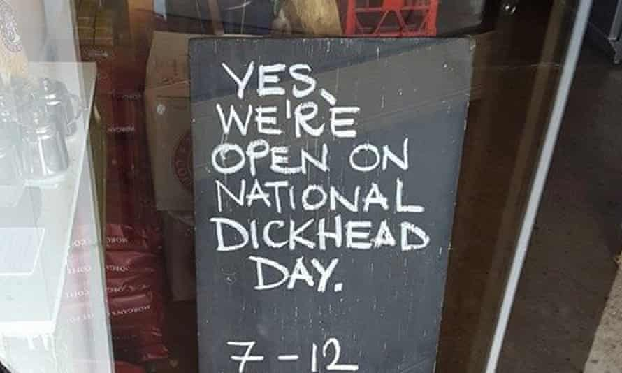 The sign chalked by Matt Chun outside his cafe in the NSW south coast town of Bermagui on Australia Day in 2016.