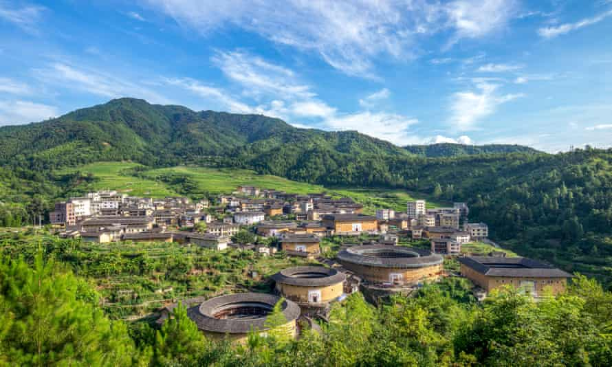 Aerial view of Chuxi Tulou cluster in Fujian, China.