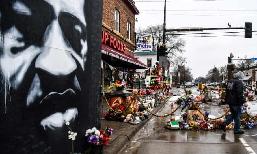 Makeshift memorial of George Floyd in Minneapolis, Minnesota.