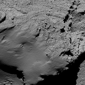 Rosetta's Osiris camera captured this image of the comet from an altitude of about 5.7 km during the spacecraft's final descent.