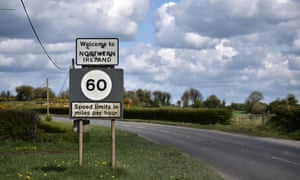 A Welcome to Northern Ireland sign riddled with bullet holes can be seen on April 30, 2018 in Ballyconnell, Ireland.