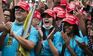 Supporters of Donald Trump rally at The Ellipse, before entering the White House