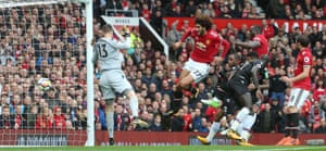 Marouane Fellaini scores United's second goal.