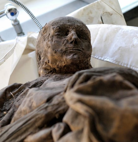 A mummified person in the Church of the Holy Spirit in Vilnius, Lithuania.