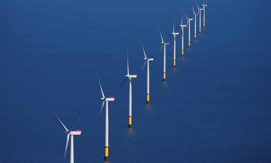 The Walney Extension offshore windfarm off the coast of Blackpool
