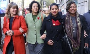 Arriving at her employment tribunal (second from left) in London in November last year with supporters including fellow presenter Naga Munchetty (to her left).