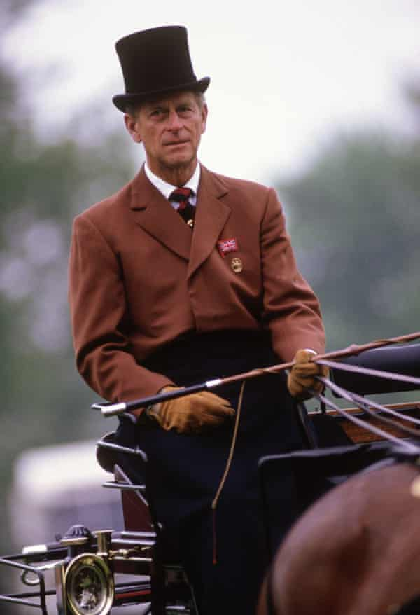 The Duke of Edinburgh competing in the dressage section of the carriage driving event at the Windsor Horse Show in 1987.