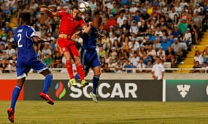 Gareth Bale scores with a header for Wales in the Euro 2016 qualifier against Cyprus