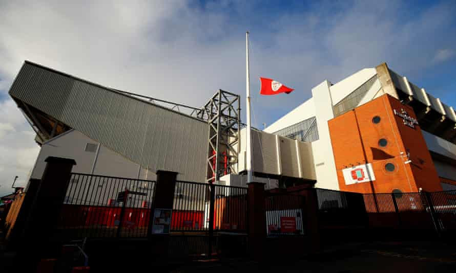 A flag flies at half-mast at Anfield after news of Gérard Houllier's death on Monday.