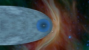 This illustration shows the position of Nasa's Voyager probes outside of the heliosphere, a protective bubble created by the sun that extends well past the orbit of Pluto