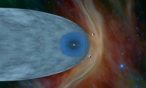 An illustration showing the positions of Voyager 1 and Voyager 2 outside of the heliosphere
