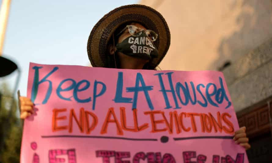 People protest against evictions in Los Angeles on 21 August.