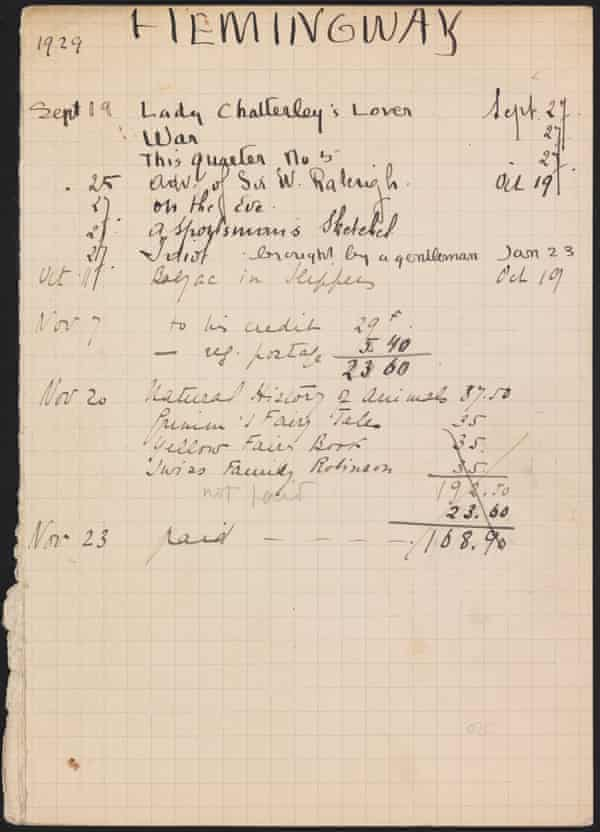 One of Hemingway's lending cards, Shakespeare and Company