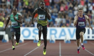 Usain Bolt looked far from his best Yunier Perez, left, finished worrying close behind in second.