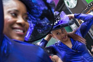 Women wait to perform during a free outdoor event organized by The Broadway League during Juneteenth celebrations at Times Square on Saturday June 19 2021 in New York
