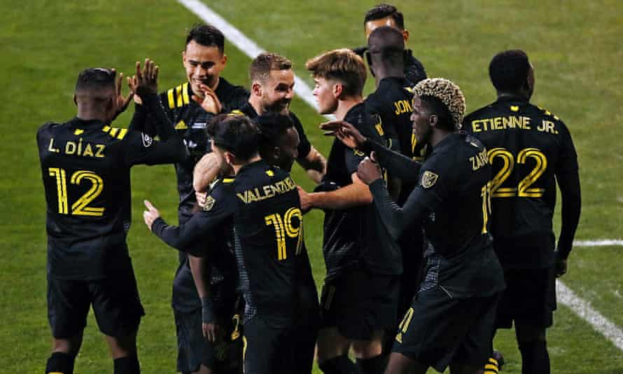 Columbus Crew's Lucas Zelarayan (10) celebrates one of his two goals against the Seattle Sounders